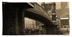 Cincinnati - Roebling Bridge 2 Sepia Hand Towel by Frank Romeo