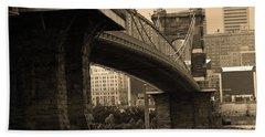 Cincinnati - Roebling Bridge 2 Sepia Bath Towel by Frank Romeo
