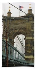 Cincinnati - Roebling Bridge 4 Hand Towel by Frank Romeo