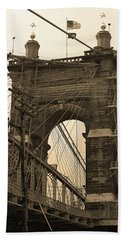 Cincinnati - Roebling Bridge 4 Sepia Bath Towel by Frank Romeo