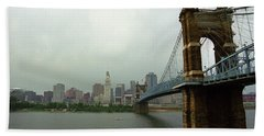 Cincinnati - Roebling Bridge 6 Hand Towel by Frank Romeo