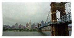 Cincinnati - Roebling Bridge 6 Bath Towel by Frank Romeo