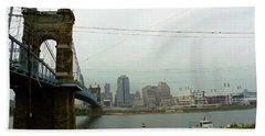 Cincinnati - Roebling Bridge 7 Bath Towel by Frank Romeo
