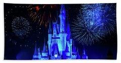 Cinderella Castle Fireworks Bath Towel