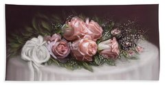 Hand Towel featuring the painting Spray Of  Roses by Bonnie Willis