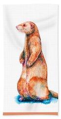 Hand Towel featuring the painting Cinnamon Ferret by Zaira Dzhaubaeva