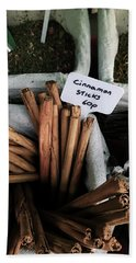 Cinnamon Sticks On Sale At A Market Hand Towel