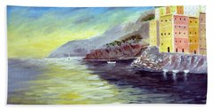 Hand Towel featuring the painting Cinque Terre Dreams by Larry Cirigliano