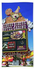 Circus Circus Sign In The Day Bath Towel by Aloha Art