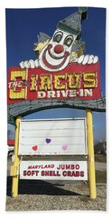 Bath Towel featuring the photograph Circus Drive In Sign by Melinda Saminski
