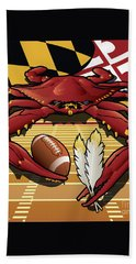 Citizen Crab Redskin, Maryland Crab Celebrating Washington Redskins Football Bath Towel