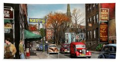 Bath Towel featuring the photograph City - Amsterdam Ny - Downtown Amsterdam 1941 by Mike Savad
