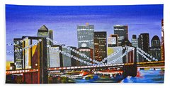 Bath Towel featuring the painting City At Twilight by Donna Blossom