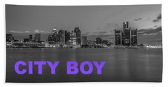 City Boy Purple Hand Towel