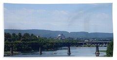 Bath Towel featuring the photograph City Bridges by Christina Verdgeline