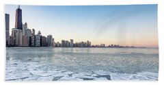 City By The Frozen Lake Hand Towel