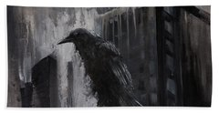 City Dweller Raven Dark Gothic Crow Wall Art Hand Towel by Gray Artus