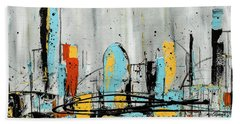 Hand Towel featuring the painting City Limits by Carmen Guedez