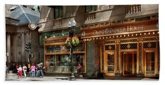 Hand Towel featuring the photograph City - Ma Boston - Meet Me At The Omni Parker Clock by Mike Savad
