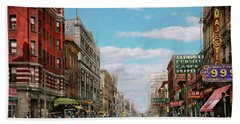 Bath Towel featuring the photograph City - Memphis Tn - Main Street Mall 1909 by Mike Savad