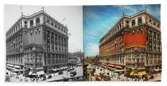 Hand Towel featuring the photograph City - Ny New York - The Nation's Largest Dept Store 1908 - Side by Mike Savad