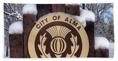 City Of Alma Michigan Snow Bath Towel