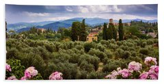 Tuscan Landscape With Roses And Mountains In Florence, Italy Bath Towel