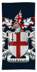 City Of London - Coat Of Arms Over Blue Leather  Bath Towel
