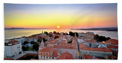 City Of Zadar Skyline Sunset View Hand Towel