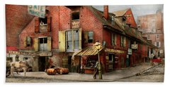Hand Towel featuring the photograph City - Pa - Fish And Provisions 1898 by Mike Savad