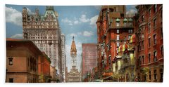Hand Towel featuring the photograph City - Pa Philadelphia - Broad Street 1905 by Mike Savad
