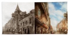 Hand Towel featuring the photograph City - Scotland - Tolbooth Operator 1865 - Side By Side by Mike Savad