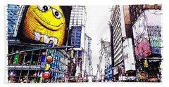 City Sketch, 7th Ave Broadway Manhattan, Yellow Mm Hand Towel