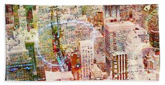 Bath Towel featuring the digital art City Snowstorm by Barbara Berney