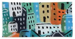City Stories- Blue And Orange Hand Towel