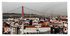 Lisbon In Black, White And Red Bath Towel