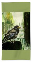Cityscape With A Crow Hand Towel