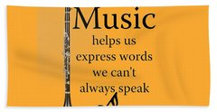 Clarinet Music Expresses Words Hand Towel