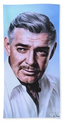 Hand Towel featuring the painting  Clark Gable 2 by Andrzej Szczerski
