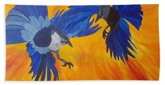 Clash Of Wings Hand Towel by Maria Urso