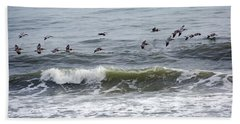 Classic Brown Pelicans Hand Towel by Betsy Knapp