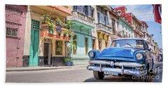 Classic Car In Havana, Cuba Hand Towel