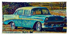 Bath Towel featuring the digital art Classic Car On An Old Dirt Road by David Mckinney