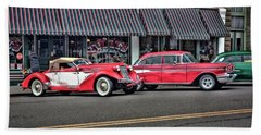 Classic Cars At Tollys Bath Towel by Tyra OBryant