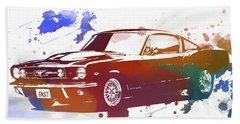 Classic Ford Mustang Watercolor Splash Hand Towel by Dan Sproul