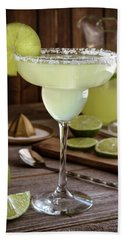 Bath Towel featuring the photograph Classic Lime Margaritas On The Rocks by Teri Virbickis
