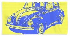 Classic Vw Beetle Tee Blue Ink Hand Towel