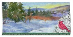 Hand Towel featuring the painting Classic Winterscape With Cardinal And Reindeer by Judith Cheng