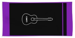 Classical Guitar In Purple Hand Towel by David Bridburg