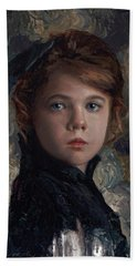Bath Towel featuring the painting Classical Portrait Of Young Girl In Victorian Dress by Karen Whitworth